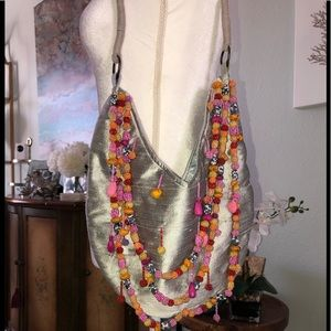 Chan Luu raw silk , hand beaded hobo bag